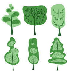 a set stylized trees and bushes in summer vector image