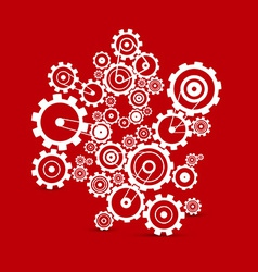 Abstract white cogs - gears on red background vector image