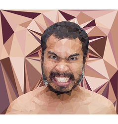 Angry man face in triangular stlye vector image