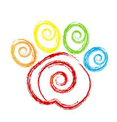 animal paw print swirly icon logo vector image