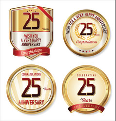 Anniversary golden label and shield 25 years vector