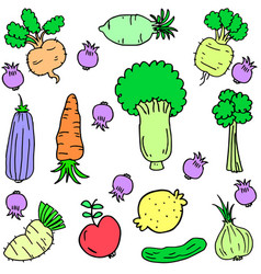 Art of vegetable set style vector