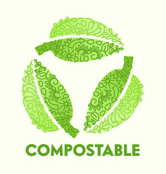 biodegradable compostable recyclable plastic vector image