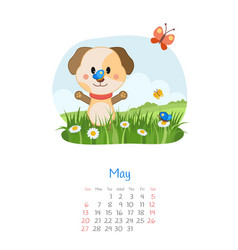 Calendar 2018 months may with dog vector