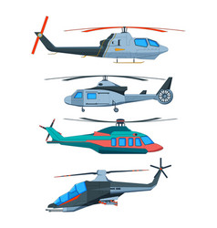 cartoon avia transport various helicopters vector image