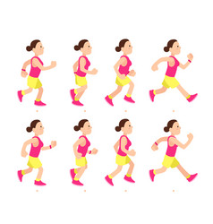 Cartoon running girl animation athletic young vector