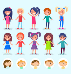 children portrait view girls and boys vector image