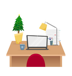 christmas office workplace with christmas tree vector image