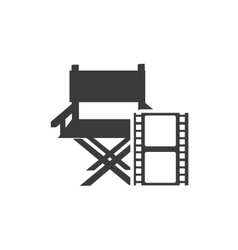 cinematographic director chair with cinema icon vector image