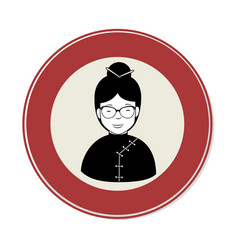 Circular frame with japanese woman vector