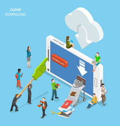 cloud download flat isometric concept vector image