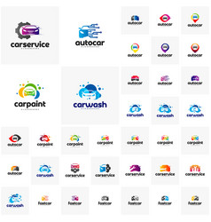 collection of car logo design template point vector image