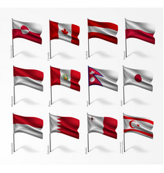 Collection of flags of world flagpole vector