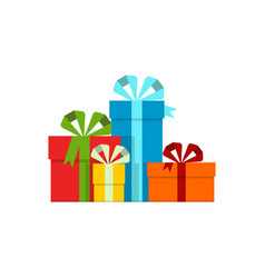 Colored gift boxes on white background vector