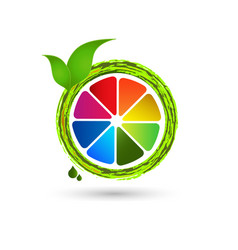 colorful lemon lime fruit icon vector image