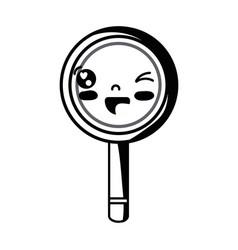 contour kawaii cute funny magnifying glass vector image