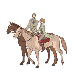 couple horseback riding lovers guy and girl on vector image