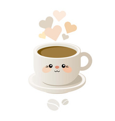 cute with a cup of coffee in kavai style vector image
