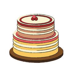delicious cake dessert vector image