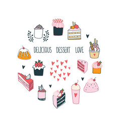 delicious food dessert collection milkshake cake vector image