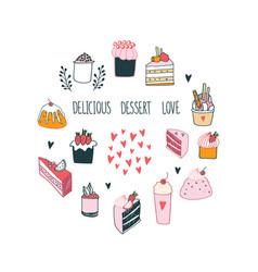 Delicious food dessert collection milkshake cake vector