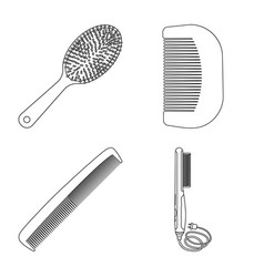design of brush and hair sign collection vector image