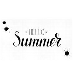 design of calligraphic text hello summer vector image