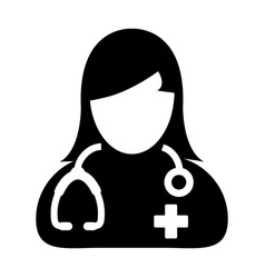 Doctor icon medical consultation female physician vector