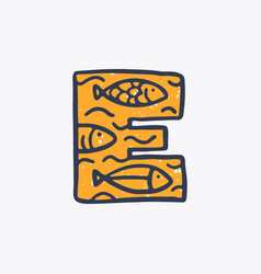 E letter logo with fishes in nordic folk art vector