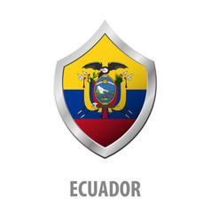 Ecuador flag on metal shiny shield vector