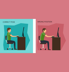 Ergonomic wrong and correct sitting posture vector
