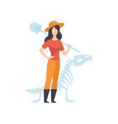 Female archaeologists or paleontologist character vector