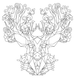 Front view of animal head triangular icon deer vector