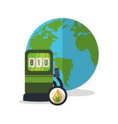 gas station globe ecology vector image
