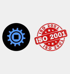 gear icon and distress iso 2001 seal vector image