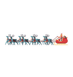 girl in santa claus costume riding sledge with vector image