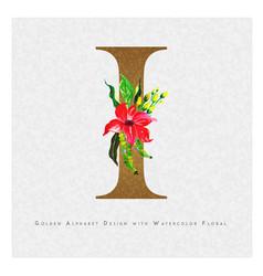 Golden letter i watercolor floral background vector