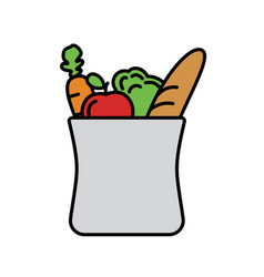 Grocery shopping in bag vector