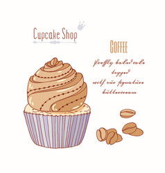 Hand drawn cupcake coffee flavor vector