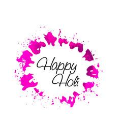happy holi watercolor splash background vector image