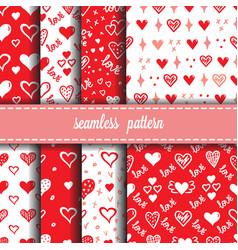 hearts seamless patterns set vector image