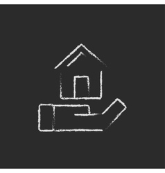 House insurance icon drawn in chalk vector image