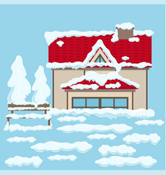 House with red roof and bench near under snow vector