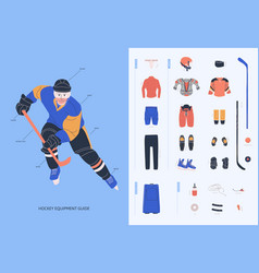 Ice hockey equipment guide for adult male player vector