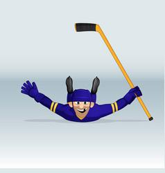 ice hockey player sliding vector image