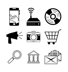 Internet icon set vector