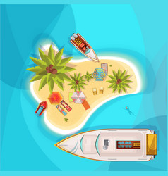 Island beach top view vector