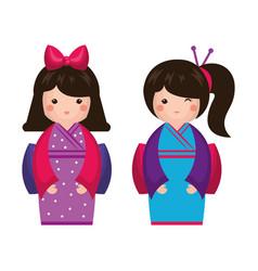 Japanese girl doll icon vector
