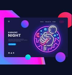 Karaoke neon horizontal web banner live vector
