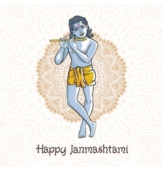 Krishna janmashtami - hindu festival hare vector